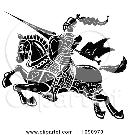 Clipart Black And White Jousting Knight With Hearts - Royalty Free Vector Illustration by Zooco