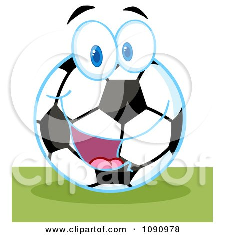 Clipart Smiling Soccer Ball Character - Royalty Free Vector Illustration by Hit Toon