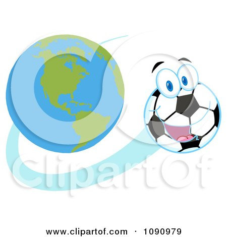 Clipart Happy Soccer Ball Character Flying Away From Earth - Royalty Free Vector Illustration by Hit Toon