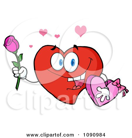 Clipart Valentine Heart Character Holding A Rose And Candy - Royalty Free Vector Illustration by Hit Toon