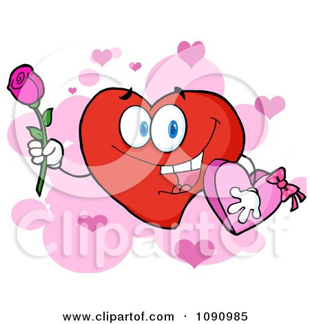 Clipart Red Valentine Heart Character Holding A Rose And Candy - Royalty Free Vector Illustration by Hit Toon