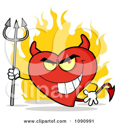 Clipart Devil Valentine Heart Character And Flames - Royalty Free Vector Illustration by Hit Toon