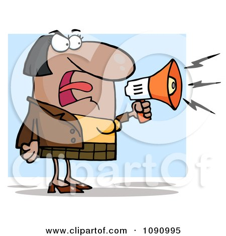 Clipart Indian Businesswoman Shouting Bossy Remarks Through A Megaphone - Royalty Free Vector Illustration by Hit Toon