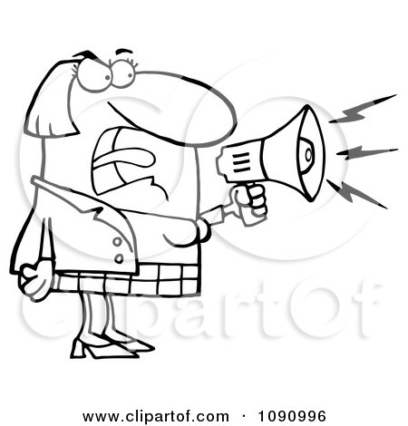Clipart Outlined Businesswoman Shouting Bossy Remarks Through A Megaphone - Royalty Free Vector Illustration by Hit Toon