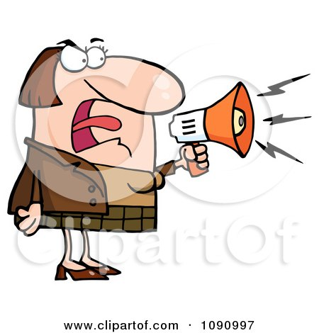 Clipart Caucasian Businesswoman Shouting Bossy Remarks Through A Megaphone - Royalty Free Vector Illustration by Hit Toon