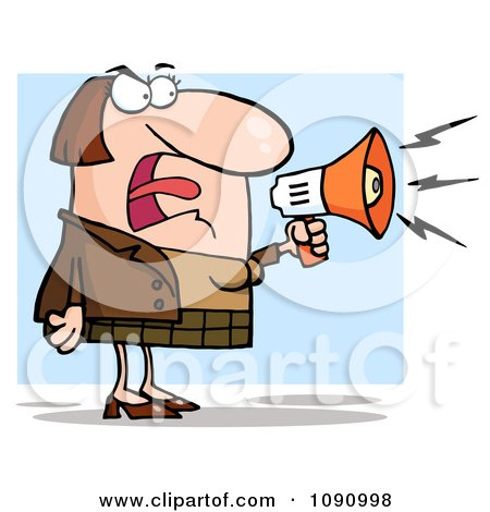 Clipart White Businesswoman Shouting Bossy Remarks Through A Megaphone - Royalty Free Vector Illustration by Hit Toon