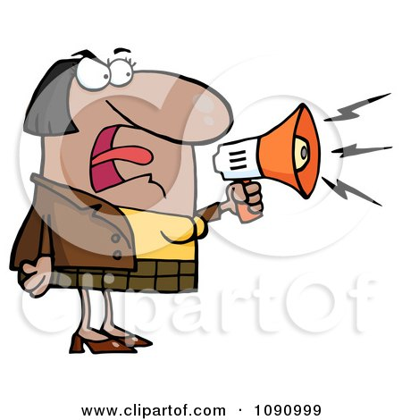 Clipart Black Businesswoman Shouting Bossy Remarks Through A Megaphone - Royalty Free Vector Illustration by Hit Toon