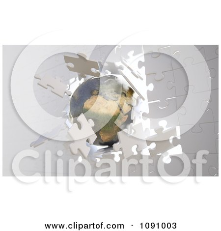 Clipart 3d Metallic Earth Crashing Through A Wall Of Puzzle Pieces - Royalty Free CGI Illustration by Mopic
