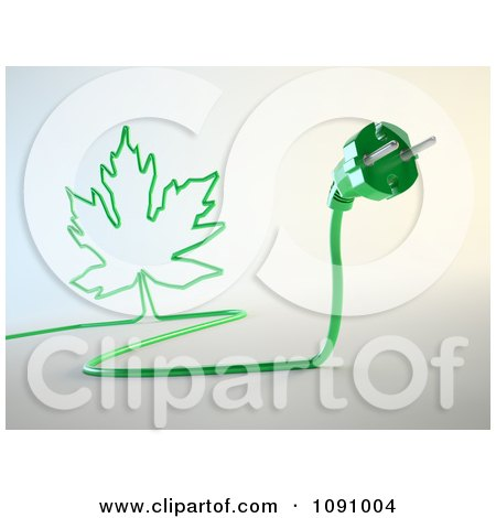 Clipart 3d Green Electric Plug With A Maple Leaf Cord - Royalty Free CGI Illustration by Mopic