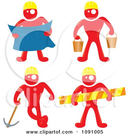 Clipart Red Men Construction Workers With Blue Prints Buckets Tools And A Caution Bar - Royalty Free Vector Illustration by Paulo Resende