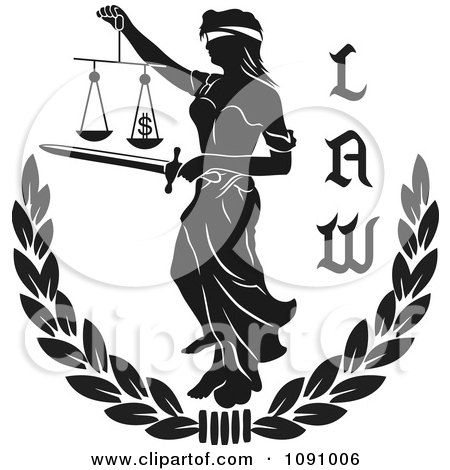 Clipart Black And White Laurel With Lady Justice And Law Text - Royalty Free Vector Illustration by pauloribau