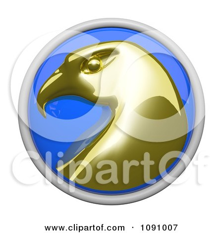 Clipart 3d Shiny Blue Circular And Gold Wellness Eagle Icon Button - Royalty Free CGI Illustration by Leo Blanchette
