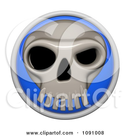 Clipart 3d Shiny Blue Circular Skull Icon Button - Royalty Free CGI Illustration by Leo Blanchette