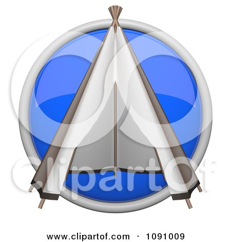 Clipart 3d Shiny Blue Circular Teepee Icon Button - Royalty Free CGI Illustration by Leo Blanchette