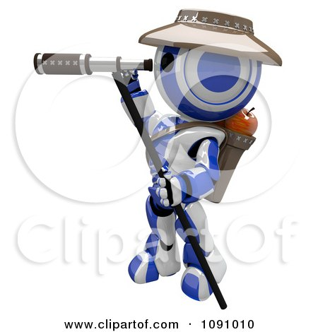 Clipart 3d Scout Robot And Telescope - Royalty Free CGI Illustration by Leo Blanchette