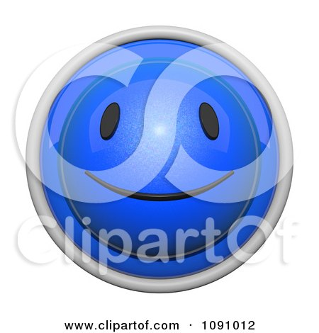Clipart 3d Shiny Blue Circular Smiley Face Emoticon Icon Button - Royalty Free CGI Illustration by Leo Blanchette