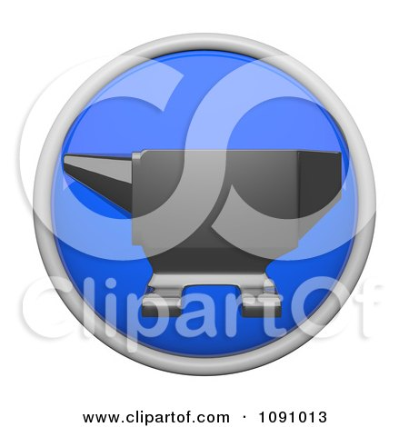 Clipart 3d Shiny Blue Circular Anvil Icon Button - Royalty Free CGI Illustration by Leo Blanchette