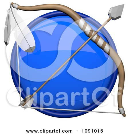 Clipart 3d Shiny Blue Circular Archery Icon Button - Royalty Free CGI Illustration by Leo Blanchette