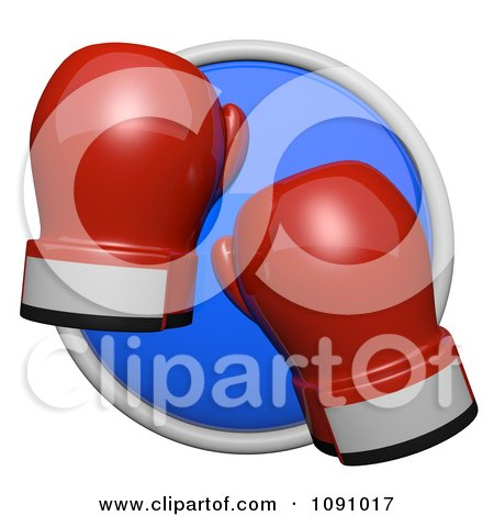 Clipart 3d Shiny Blue Circular Boxing Gloves Icon Button - Royalty Free CGI Illustration by Leo Blanchette