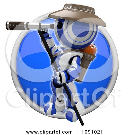 Clipart 3d Shiny Blue Circular Robot Scout Icon Button - Royalty Free CGI Illustration by Leo Blanchette