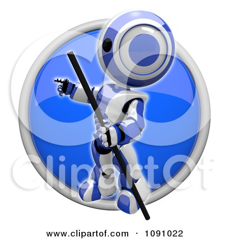 Clipart 3d Shiny Blue Circular Pointing Robot Icon Button - Royalty Free CGI Illustration by Leo Blanchette