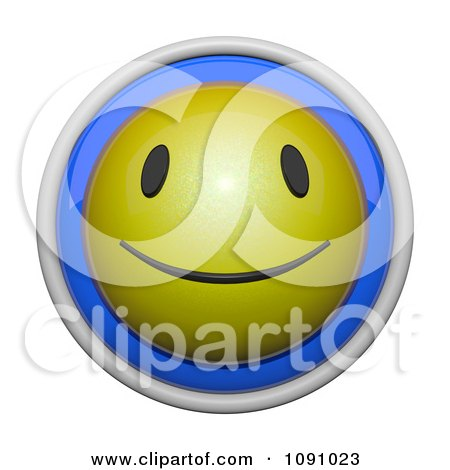 Clipart 3d Shiny Blue And Yellow Circular Smiley Face Emoticon Icon Button - Royalty Free CGI Illustration by Leo Blanchette