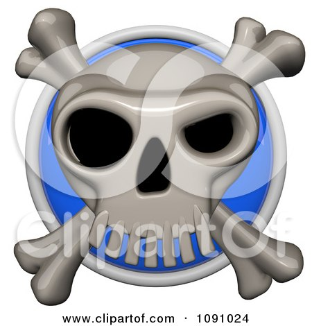 Clipart 3d Shiny Blue Circular Skull And Cross Bones Pirate Icon Button - Royalty Free CGI Illustration by Leo Blanchette