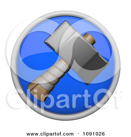 Clipart 3d Shiny Blue Circular Sledge Hammer Icon Button - Royalty Free CGI Illustration by Leo Blanchette