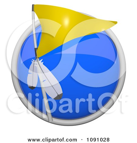 Clipart 3d Shiny Blue Circular Yellow Native American Tribe Flag Icon Button - Royalty Free CGI Illustration by Leo Blanchette