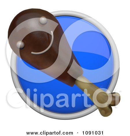 Clipart 3d Shiny Blue Circular Chicken Drumstick Icon Button - Royalty Free CGI Illustration by Leo Blanchette
