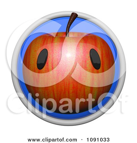 Clipart 3d Circular Apple Icon Button - Royalty Free CGI Illustration by Leo Blanchette
