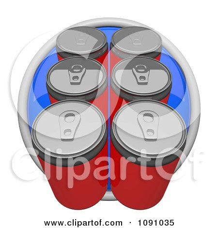 Clipart 3d Blue Circular Six Pack Soda Or Beer Can Icon Button - Royalty Free CGI Illustration by Leo Blanchette
