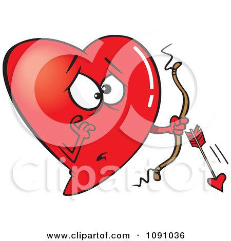 Clipart Red Heart Cupid With A Broken Arrow - Royalty Free Vector Illustration by toonaday