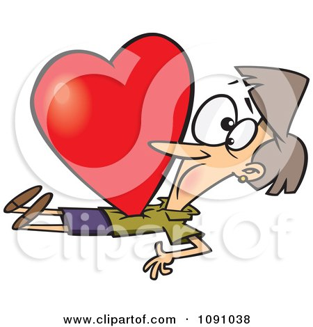 Clipart Woman Being Crushed With A Love Heart - Royalty Free Vector Illustration by toonaday
