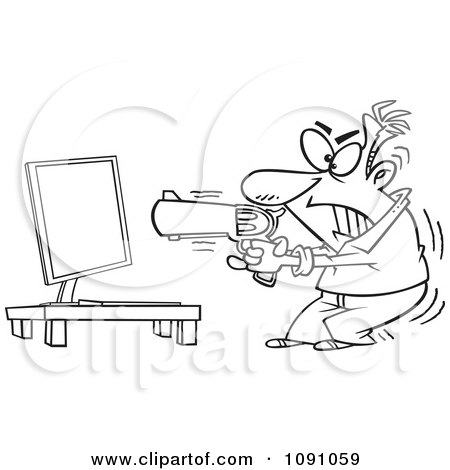 Clipart Outlined Man Ready To Commit Compucide - Royalty Free Vector Illustration by toonaday
