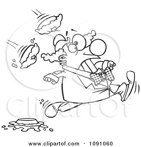Clipart Outlined Clown Running From Pies - Royalty Free Vector Illustration by toonaday