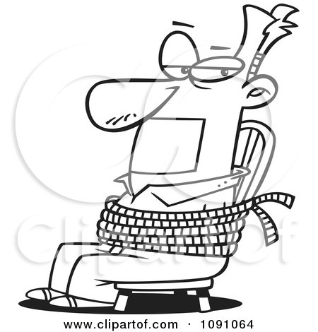 Clipart Outlined Man Gagged And Tied To A Chair - Royalty Free Vector Illustration by toonaday