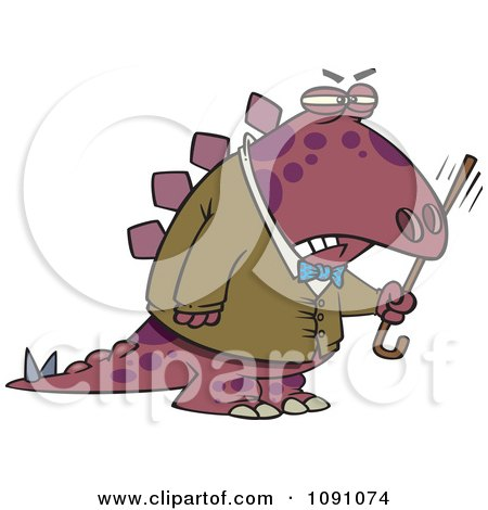 Clipart Old Grumpy Dinosaur Waving His Cane - Royalty Free Vector Illustration by toonaday
