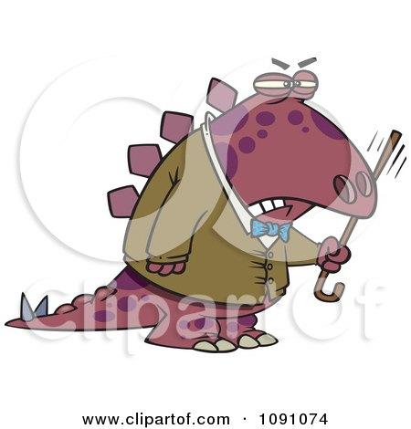 Old Grumpy Dinosaur Waving His Cane Posters, Art Prints