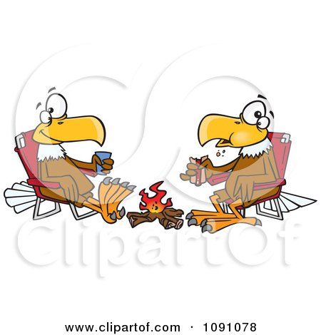 Clipart Eagle Friends Eating Lunch By A Camp Fire - Royalty Free Vector Illustration by toonaday