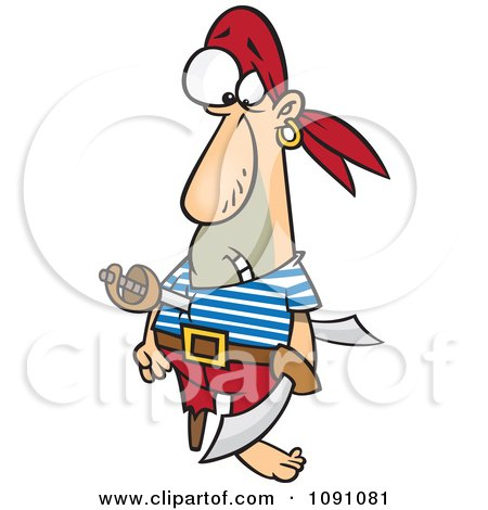 Clipart Pirate Stabbed With A Sword - Royalty Free Vector Illustration by Ron Leishman