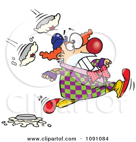 Clipart Clown Running From Pies - Royalty Free Vector Illustration by toonaday