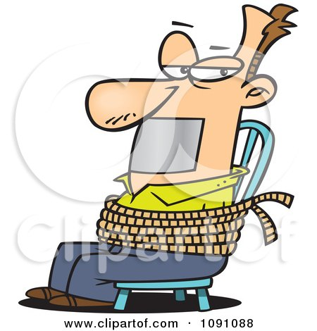 Clipart Man Gagged And Tied To A Chair - Royalty Free Vector Illustration by toonaday