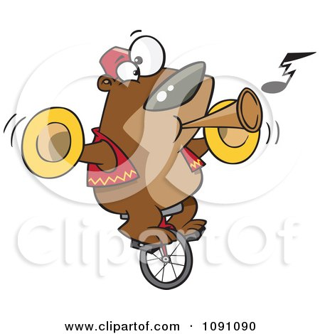 Clipart Stunt Bear Playing Music And Riding A Unicycle Royalty Free Vector Illustration