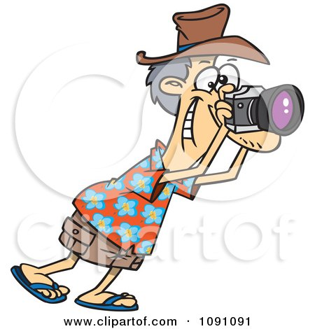Clipart Male Tourist Snapping Photographs - Royalty Free Vector Illustration by toonaday