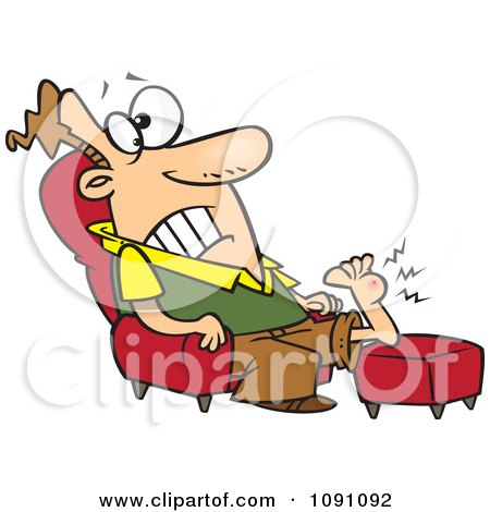 Clipart Man Resting His Wart Covered Foot - Royalty Free Vector Illustration by toonaday