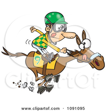 Clipart Jockey Man Racing A Horse - Royalty Free Vector Illustration by toonaday