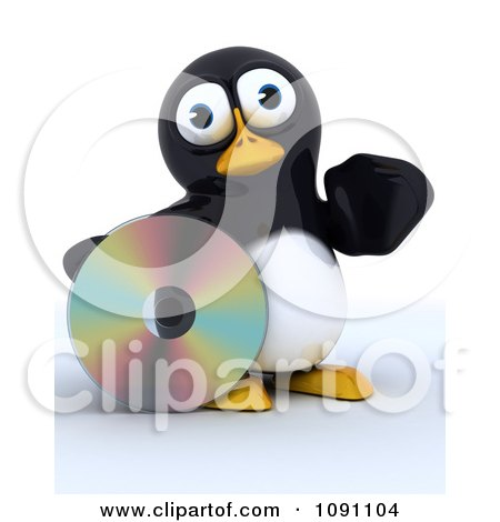 Clipart 3d Cute Penguin With A Shiny CD - Royalty Free CGI Illustration by KJ Pargeter