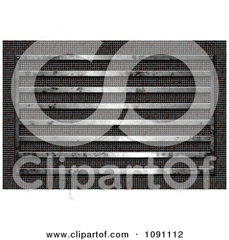 Clipart 3d Grungy Metal Bars And Mesh - Royalty Free CGI Illustration by KJ Pargeter