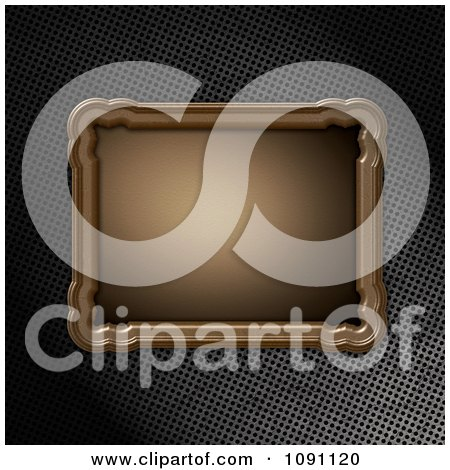 Clipart 3d Wooden Frame Plaque Over Perforated Metal - Royalty Free CGI Illustration by KJ Pargeter